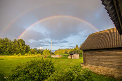Double rainbow, magic weather Stock Photography