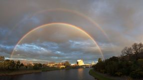 Double rainbow in melbourne Stock Images