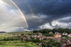 Double rainbow. In Miercurea Ciuc, Harghita county, Romania Stock Image