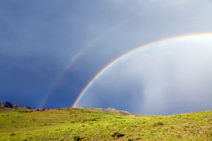 Double Rainbow in Mongolia Stock Photo