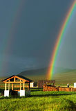 Double Rainbow over archeological field camp Royalty Free Stock Images