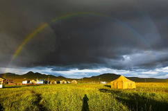 Double Rainbow over archeological field camp Stock Photography