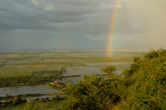 Double rainbow over the Cambodian countryside Royalty Free Stock Photos