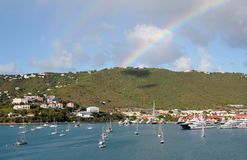 Double rainbow over Charlotte Amilee, St. Thomas, USVI Stock Photography