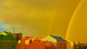 Double rainbow over the city Royalty Free Stock Image