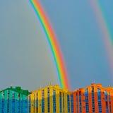 Double rainbow over the city Stock Photo