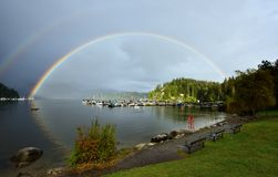 Double Rainbow Over Deep Cove, North Vancouver Stock Photography