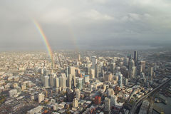 Double Rainbow over Downtown - Aerial. Two rainbows forming over downtown Seattle Stock Image