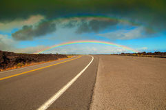 Double rainbow over Hawaii royalty free stock photos
