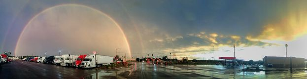 Double Rainbow over McDonald's in Iowa stock photo