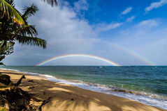 Double Rainbow over the Ocean Stock Images