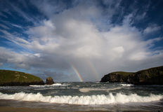 Double Rainbow over Outer Hebrides Stock Images