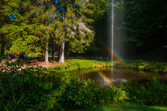 Double rainbow over pond at Letchworth State Park, New York. Royalty Free Stock Image