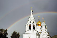 Double rainbow over Saint Nicolas Church in Moscow Stock Images