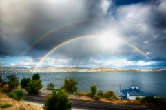 Double Rainbow Over Sorell Stock Photos