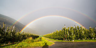 Double Rainbow after rain in Italy Stock Images