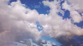 Double rainbow on rainy sky stock footage
