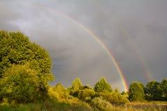 Double rainbow in sky Stock Photos