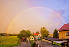 Double rainbow at sunset Royalty Free Stock Images