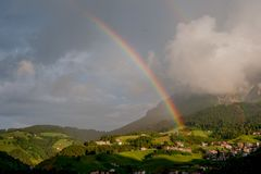 After the thunderstorm. Double rainbow After the thunderstorm Stock Image