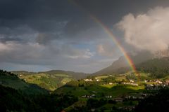 After the thunderstorm. Double rainbow  After the thunderstorm Stock Photos