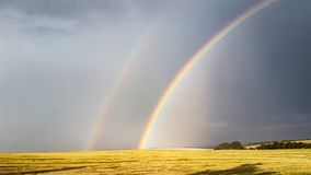 Double Rainbow. Two rainbows above a cornfield Royalty Free Stock Images