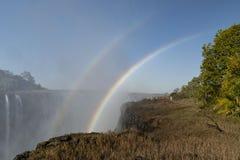 Double rainbow at Victoria Falls. Zimbabwe