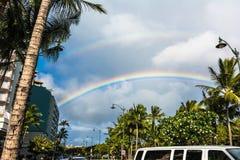 The Double Rainbow in Waikiki, Hawaii Stock Photo