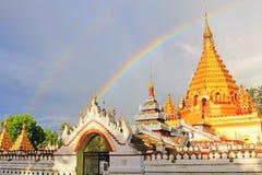 Double Rainbow and Yadanar Manaung Pagoda, Nyaungshwe, Myanmar Stock Images