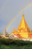 Double Rainbow and Yadanar Manaung Pagoda, Nyaungshwe, Myanmar Stock Photos