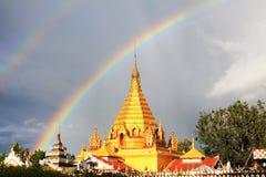 Double Rainbow and Yadanar Manaung Pagoda, Nyaungshwe, Myanmar Royalty Free Stock Photos