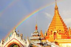 Double Rainbow and Yadanar Manaung Pagoda, Nyaungshwe, Myanmar Stock Photo