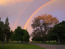 Double rainbows Stock Photography