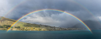 Double rainbows over lake Wakatipu Stock Images