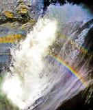 Double Rainbows at Trummelbach falls, Interlaken, Bern canton, Switzerland, waterfall in the mountain of Lauterbrunnen valley Royalty Free Stock Photos