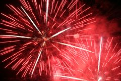 Double red burst. Of fireworks Stock Photos