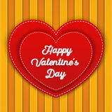 Double red heart with Happy Valentine`s Day word Stock Photos