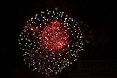 Double red and white firework stock images
