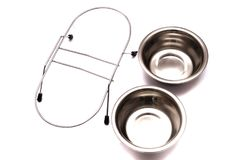 Double removable pet feeding dish bowls Stock Image