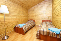 Double room with separate beds in motel. In Finland stock images