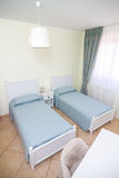 Double room in white style with separate beds. In b&b hotel royalty free stock photos