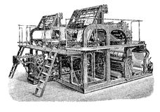 Double rotary printing press machine, vintage engraving Royalty Free Stock Image