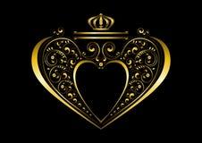 Double ruban tendre avec la couronne de vers le haut d'un cadre en forme de coeur d'or et avec le modèle des détails courbés call illustration stock