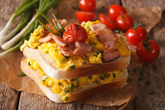 Double sandwich with scrambled eggs, bacon and tomatoes close-up Stock Photos