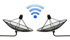 Double satellite dish high signal isolated white background. Royalty Free Stock Photo