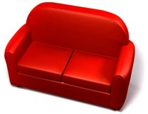 Double seated sofa - love seat. Red double seated sofa on white background stock illustration