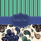Double set of vintage doodle patterns. Double set of doodle patterns. Stripes and flowers. Frame for your text Royalty Free Illustration