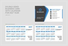 Double-sided πρότυπο επαγγελματικών καρτών με το ημερολόγιο για το έτος του 2017 Η εβδομάδα αρχίζει τη Δευτέρα Η εβδομάδα αρχίζει Στοκ Φωτογραφία