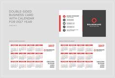 Double-sided πρότυπο επαγγελματικών καρτών με το ημερολόγιο για το έτος του 2017 Η εβδομάδα αρχίζει τη Δευτέρα Η εβδομάδα αρχίζει Στοκ Εικόνες
