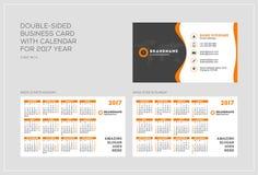 Double-sided πρότυπο επαγγελματικών καρτών με το ημερολόγιο για το έτος του 2017 Η εβδομάδα αρχίζει τη Δευτέρα Η εβδομάδα αρχίζει Στοκ Εικόνα